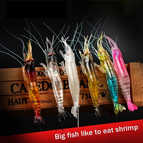 Pack de 6 cebos de pesca artificiales de silicona luminosos de tacto suave y con gancho, 94 cm, para agua dulce, agua salada