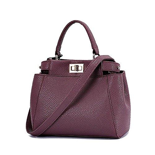 LDMB Damen-handtaschen Einfache wilde PU-lederne Nubuck Schulter-Kurier-Beutel-Handtaschen-feste Farben-Einkaufstasche für Frauen und Mädchen purple taro