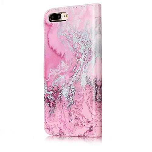 EUWLY Custodia Cover per iPhone 7 Plus/iPhone 8 Plus (5.5), Bello Dipinto Disegno PU Pelle Portafoglio Custodia Creativo Colorato Marmo Pattern Protettiva Cover Case Supporto Stand Slot Holder Protez Modello Marmo,Bianco Rosa