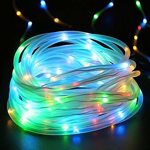 Qedertek Solar Lichterkette, Lichtschlauch, 100 LEDs, 12 m/39 ft, Wasserdicht, Dekoration für Weihnachten Garten Yard Weg Zaun Baum Hinterhof usw. (Laterne Weihnachtsschmuck)
