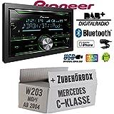 Pioneer FH-X840DAB 2-DIN - Bluetooth | DAB+ Digitalradio | CD | USB | Spotify für iPhone | Autoradio - Einbauset für Mercedes C- JUST SOUND best choice for caraudio