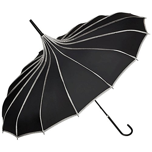 VON LILIENFELD Regenschirm Mode Damen Sonnenschirm Brautschirm Hochzeitsschirm Pagode Ziernähte...
