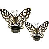Decorative Metal Butterfly Tea Light Candle Holder Set Of 2 Pcs