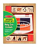 Melissa & Doug 11638 Baby Zoo Animals Wooden Set with 8 4 Colour Stamp Pad