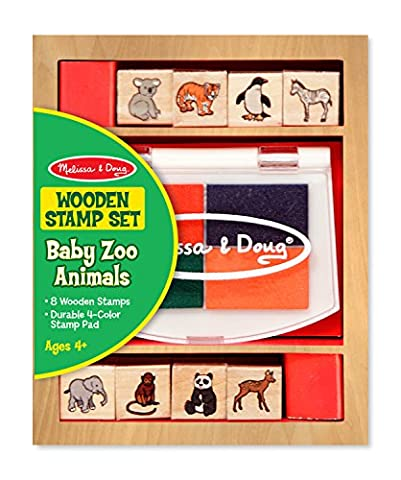 Melissa & Doug Baby Zoo Animals Wooden Stamp Set: 8 Stamps and 4-Colour Stamp Pad