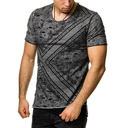 RedBridge Herren T-Shirt Paisley Print Destroyed Zerrissen Anthrazit Grau M1063 Anthrazit