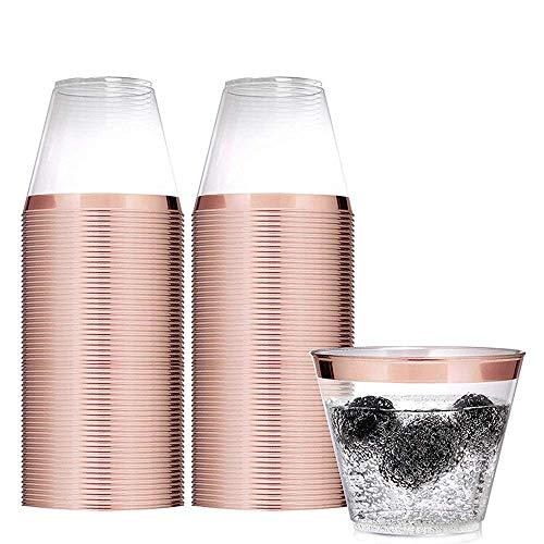 Premium Kunststoffbecher transparent 270 ml Einwegbecher, ideal für Hochzeiten, Geburtstage, Jubiläen, Babypartys, Valentinstag, Partys, 50 Stück Rosegold