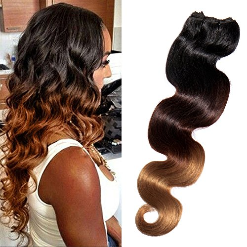 Tissage Bresilien Meches Bresiliennes Extension Cheveux Naturel Ondulé Dégradé #1B Noir Naturel + #33 Auburn + #27 Blond foncé - Grade 7A Brazilian 100% Human Hair Body Wave - 16\\