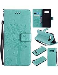 Samsung Galaxy Note 8 Étui en Cuir, Ecoway Étui En Cuir PU (Motif de chat et l'arbre ) Embossage La Fente en de Support Pliable Pour Samsung Galaxy Note 8(Vert)