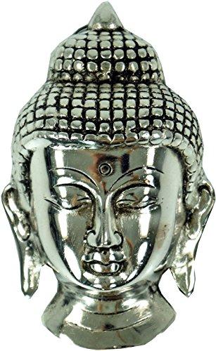 Guru-Shop Buddha Maske aus Weißmetall, 13,5x8x4 cm, Buddhastatuen