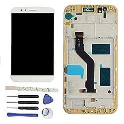 Draxlgon Ecran LCD Écran Tactile LCD Assemblée pour Huawei GX8 Ascend G8 RIO-L03 RIO-L02 (White w/Frame)