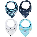 Baby Bandana Drool Bibs Burp Cloths Boys Girls Unisex With Snap Absorbent Cotton For Teething Feeding Hypoallergenic For Infant Boys Shower Gift Set 4 Pack By Busy Mom Dolphin Sailor