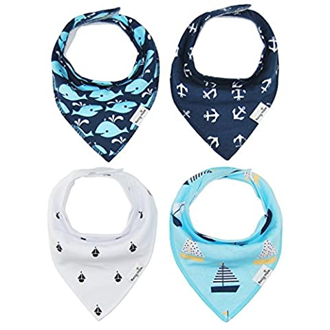 4-Pack Unisex Baby Toddlers Bandana Drool Bibs with Snaps 100%