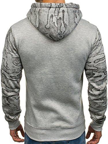 BOLF Herren Sweatshirt Pullover mit Kapuze mit Kordel Top AK72 Grau_DD58