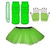Blauer Planet–Kind 4–7Online, Neon Tutu, Kurz Fischnetz Handschuhe, beinwärmern und Perlen Halskette