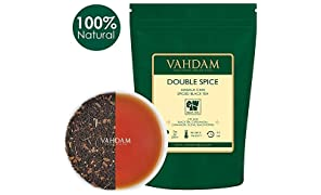 VAHDAM, Double Spice Masala Chai (50 Cups) | Crush-Curl-Tea Blended with Cardamom, Cinnamon, Black Pepper & Cloves | Vacuum Sealed for Freshness | Brew Hot or Iced | 100gm
