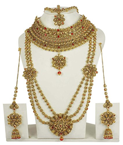 MUCH MORE Beautiful Royal Look Design Charming Full Bridal Necklace Set For Women Wedding Jewelry