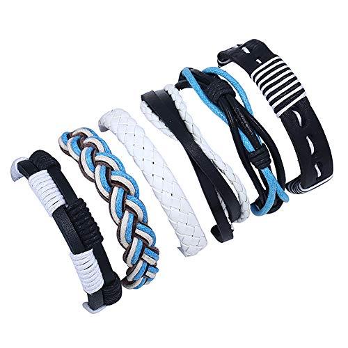 CAOLATOR Breit Armband Damen Set 6 Stück Lederarmband Manner Armbänder Blau Freundschaftsbänder Kreativ Verschiedene Stile Armkette Exotischer Stil Handgewebt Armreif