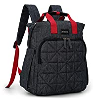 mommore Changing Bag Backpack Multi-Pocket and Machine Washable with Pram Clips, Wet Pocket, Changing Mat