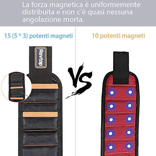 Rovtop Polsiera magnetica con 15 Magneti Robusti, Braccialetto Magnetico, salva le mani, fissa facilmente viti, chiodi, punte da trapano, ecc, Adatto per uomini e donne, attrezzi e regali fai da te - 9