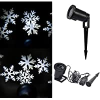 SECRET CHERISH Moving Snowflake Spotlight Indoor/outdoor LED Landscape Projector Light, Snowflake Moves Automatically, Christmas Holiday Garden Decoration Light (White)