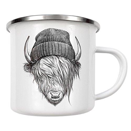 artboxONE Emaille Tasse 'Highland cattle' von Nikita Korenkov - Emaille Becher...