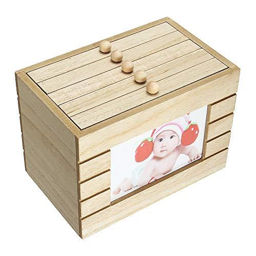FEDBNET Time Treasure Box Album Holz 6 Erinnerungsstücke Erinnerungen Retro Holz Foto Album Box Geschenk DIY 15,2 cm 100 Fotos Aufbewahrung Vintage Case