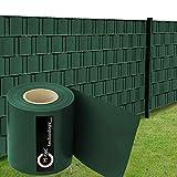 Sichtschutzstreifen | PVC | M-Tec matt EXKLUSIV 35m x 19cm ✔ moosgrün ✔ Extra Blickdichte Qualität ✔ Windschutz ✔ | - Nach M-Tec Technology Rezeptur Hergestellt -