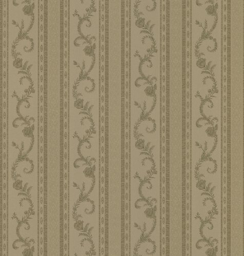 Metallic Scroll (Brewster 980-69924 Mirage Silks Leaf Scroll Stripe Wallpaper, 20.5-Inch by 396-Inch, Metallics by Brewster)