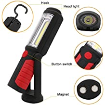 Jimmkey 2in1 LED COB Camping Work Inspection Light Lamp Hand Torch Magnetic,Hands-Free Garage Workshop Flashlight for Auto,Emergencies with Adjusting Stand Hook Up,Anywhere For Wall Closet Cabinet, Stairs, Drawer, Wardrobe, Pure Torch Inspection Lamp Camping Light (Black, 21.5cm X 5.7cm)