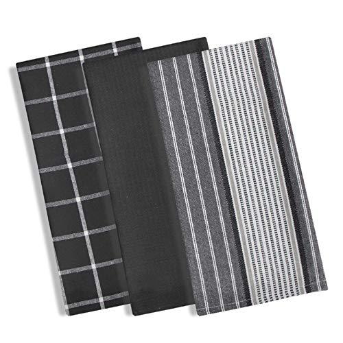 Ideal Textiles Manhattan Set von 3Geschirrtücher, Waffelmuster, 100% Baumwolle Geschirrtuch Set, Modern Karo & Streifen Design, saugfähig Terry Geschirrtücher, 3Stück schwarz