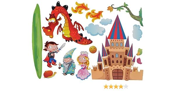 Alles Meine De Gmbh Xxl Wandtattoo Sticker Drache Mit Schloss Zauberer Marchen Selbstklebend Prinzessin Prinz Wandsticker Aufkleber Amazon De Spielzeug