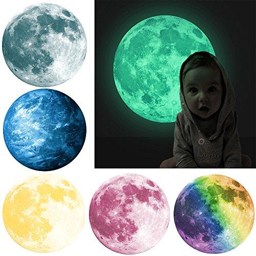 Yumimi88 30cm 3D Großer Mond Fluoreszierender Wandaufkleber Entfernbarer im Dunkeln Leuchten Aufkleber Stereo Wandtattoo Papier Abnehmbare selbstklebend Tapete Wandsticker