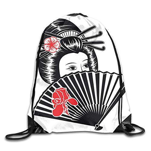Portrait of A Japanese Lady Covered Her Face with Authentic Fan Feminine Graphic Work Unisex Home Travel Outdoor Sports Storage Rope Bag Drawstring Backpack Bag