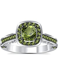 Silvernshine 2Ct Asscher Cut Peridot CZ Dimoands 14K White Gold Plated Engagement & Wedding Ring