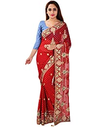 Ganga Creation Women's Georgette Saree with Blouse Piece (Red)