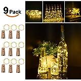 9x 20 LED Flaschen-Licht, Flaschenlichter Weinflasche Flaschenlicht Kork Flaschen Licht LED Lichter Lichterkette Flaschen DIY- Flaschen Lichter für Hochzeit Party Romantische Deko - [ Warm-weiß]