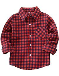 Yuxin Camisa Niño - Camiseta Cuadros Blusas Manga Larga Tops Niños Tshirts Niñas Shirts Colegio Unisexo Outerwear Tartán Abrigo Primavera Otoño Casual