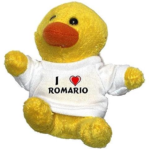 Pollo de peluche (llavero) con Amo Romario en la camiseta (nombre de pila/apellido/apodo)
