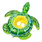 Artistic9 Aufblasbarer Schwimmer, schöne Schildkröte, aufblasbarer Schwimmring, Schwimm-Trainer, Schwimmbad, sicherer Sitz für Kinder, Alter 3–8 Jahre