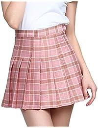 ff15bc02df0 Heheja Fille Femme Taille Haute Mini Kilt Jupe Patineuse Ecossais Évasé Tartan  Plissé Plaid