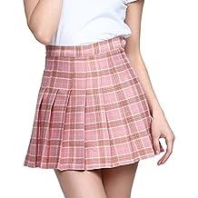 b68a684593ec Heheja Fille Femme Taille Haute Mini Kilt Jupe Patineuse Ecossais Évasé  Tartan Plissé Plaid