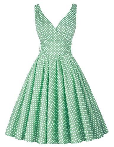 Vintage kleid 50s Damen Faltenrock Picknick kleid Polka Dots Sommerkleid