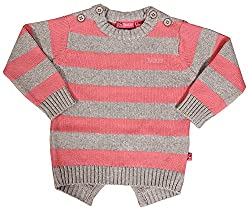 Buzzy Baby Girls 1-2 Years Cotton Cardigan (Grey & Pink)