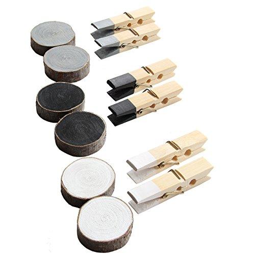LaZunna - Mix von 12 bunten Magneten - 6 Maxi Holzklammern aus Bambus 60 mm und 6 Magnet-Holzscheiben mit integrierten starken Neodym Magneten für die Befestigung am Kühlschrank und vielen anderen magnetischen Oberflächen. Farbe: Grau, Schwarz, Weiss