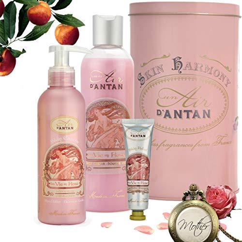 Französisches Beauty Pflege Geschenkbox Rose –Parfum Rose, Pfirsich, Patschuli, Enthält 1 Duschgel 250ml, 1 Handcreme 25ml,1 Bodylotion 200ml + 1 Damen Uhr Kette - Geschenkideen für Muttertag