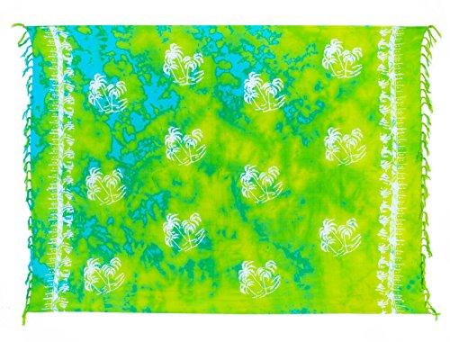 Sarong ca. 170cm x 110cm Handgearbeitet inkl. Sarongschnalle im Raute Design - Viele exotische Farben und Muster zur Auswahl - Pareo Dhoti Lunghi Palme Grün Batik