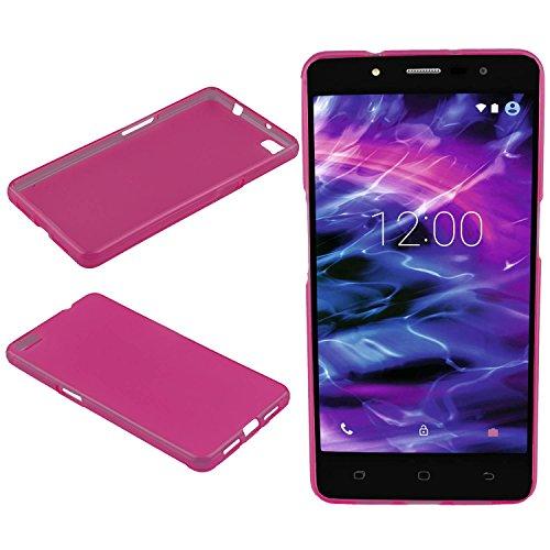 caseroxx Hülle/Tasche TPU-Hülle pink + Displayschutzfolie für Medion Life S5004 MD 99722, Set Bestehend aus TPU-Hülle und Displayschutzfolie