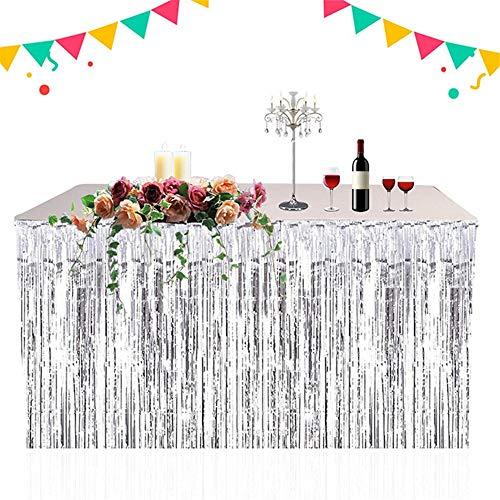 ge Foil Table Rock Tinsel Tabelle Vorhang für Luau Party-Geburtstags-Sommer-Jahrestag Weihnachten Tischdekoration,Silver ()