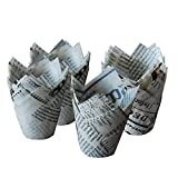 Butterme 50pcs Decorative Mini Tulip Style Baking Cups Paper Cupcake Liner Cases Muffin Wrappers (Newspaper)